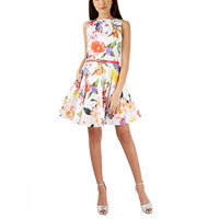 Closet Large Floral Belted Skater dress XS or XL