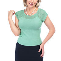 Collectif Claire Knitted Top antique green