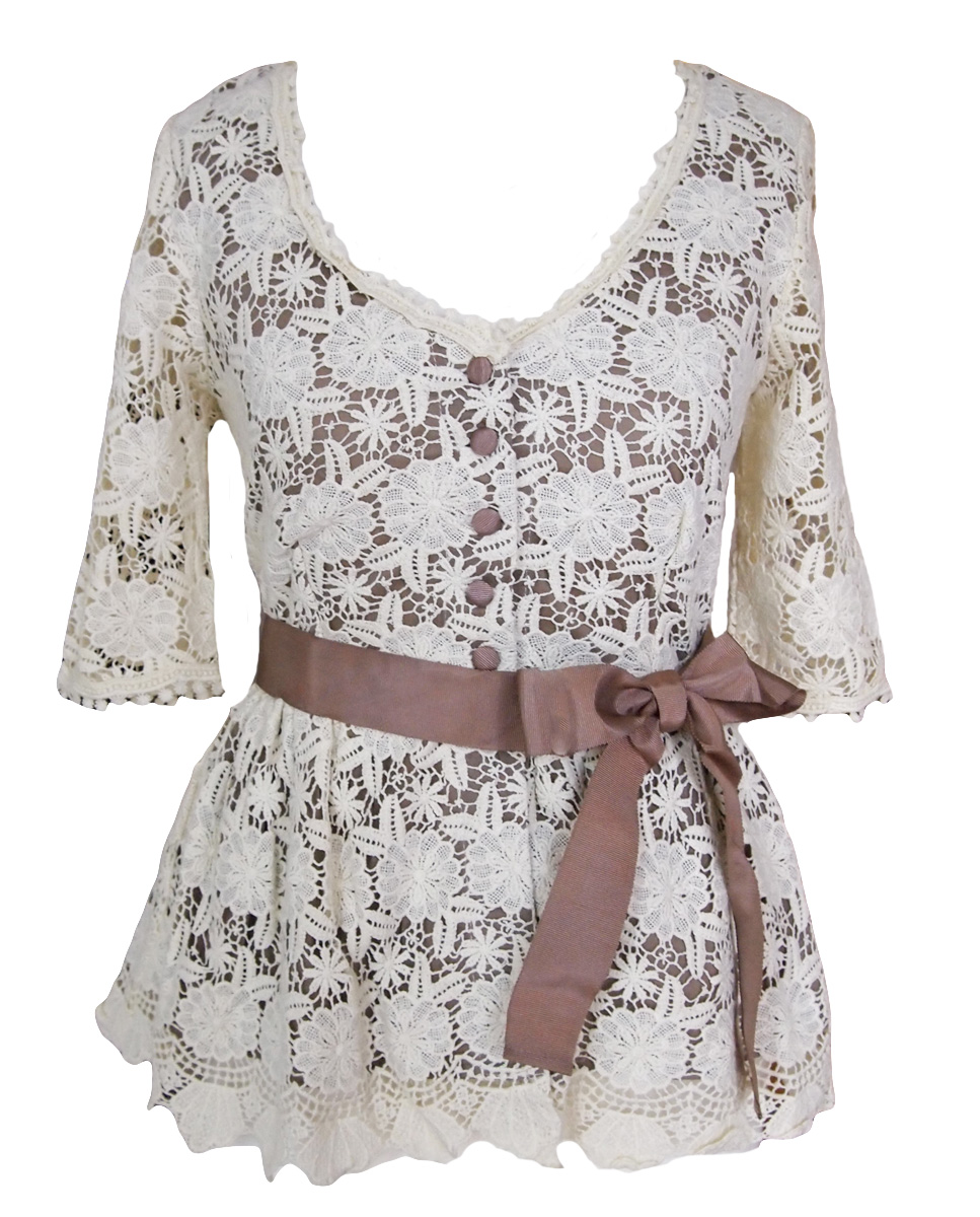 Darling Willa Bluse weiß taupe XS o. S - Born2Style Fashion Store